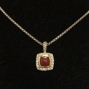 David Yurman Albion Carnelian/Diamond Necklace